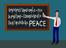 Free Man With Blackboard And Peace Formula Royalty Free Stock Images - 15270989