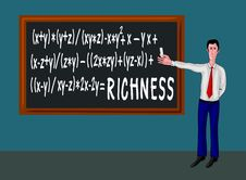 Free Man With Blackboard And Richness Formula Stock Photography - 15270992