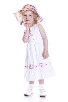 Free Small Smiling Baby In White Dress Stock Photos - 15272443