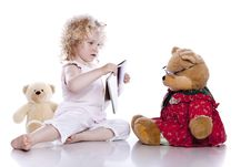 Free Cute Baby Girl With Her Teddy Bear Royalty Free Stock Photo - 15272565