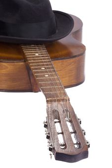Free Guitar And Hat On White Stock Photos - 15273143