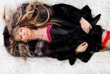 Free Woman On Furs Carpet Stock Images - 15274314