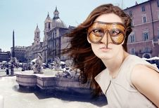 Free Beautiful Girl With The Venetian Mask Stock Photography - 15274452
