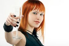 Beautiful Red-haired Girl Lifts A Toast,