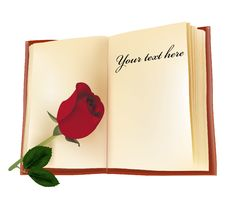 Free Red Beautiful Rose On The Book. Royalty Free Stock Image - 15275706