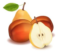 Peaches, A Pear And A Halved Pear.