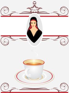 Cup With Tea And Portrait Of East Beautiful Woman Royalty Free Stock Photography