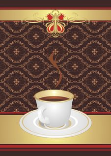 Free Cup With Coffee On The Decorative Background Royalty Free Stock Images - 15276129