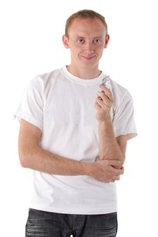 Free Smiling Man With A Dictaphone Stock Photography - 15276152