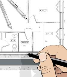 Free Drawing An House Plan Stock Photos - 15276823