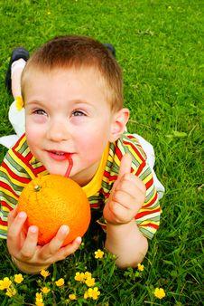 Free The Child Is Drinking Orange Juice Royalty Free Stock Image - 15278046