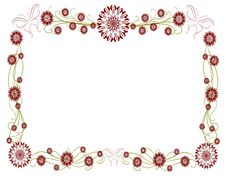Isolated Floral Frame With Stylized Flowers And Bu Royalty Free Stock Photo