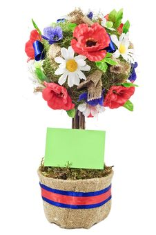 Free Celebratory Decorative Tree In A Pot With A Card Royalty Free Stock Image - 15281906