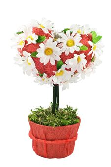 Free Celebratory Tree In A Kind Heart With Camomiles Stock Images - 15281914