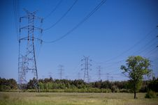 Free Power Lines On Blue Sky Stock Photo - 15281920