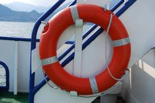 Free Orange Lifebuoy Ring On A Ship Royalty Free Stock Image - 15282396