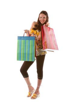 Free Pretty Shopping Girl With Bags (isolated) Stock Photo - 15282770