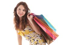 Free Smiling Girl With Shopping Bags Stock Photo - 15282800