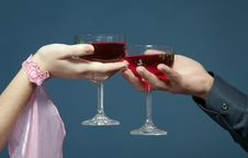 Two Glasses,  Two Hands Stock Photos