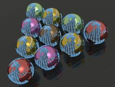 Colored Earth Balls Stock Photography