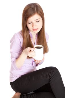 Young Girl With Mug With Coffee