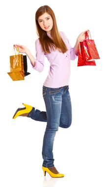 Free Girl With Bags Stock Images - 15289054