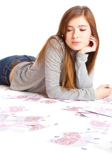 Free Girl With Money Stock Photography - 15289092