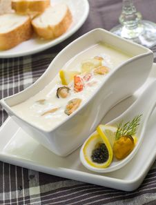 Cheese Cream Soup With Seafood Royalty Free Stock Photography
