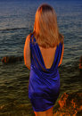 Free A Thoughtful Girl In Violet Dress Royalty Free Stock Images - 15299069