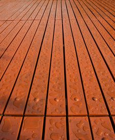 Free Water Drops On Wood Floor Stock Photos - 15290063