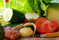 Oil Vinegar And Vegetables. Stock Images