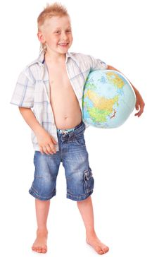 Free Boy And Globe Royalty Free Stock Photos - 15291528