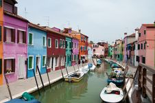 Houses And Canals Of Burano Stock Photo