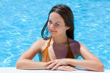Free Young Woman In The Pool Royalty Free Stock Photo - 15294885