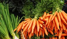 Carrots And Green Onions Stock Photography