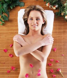 Spa Image With A Lovely Female Covered With Petals Stock Images