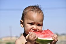Free Little Boy Eating Watermelon Stock Photos - 15297753