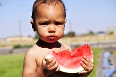 Free Little Boy Eating Watermelon Stock Image - 15297761