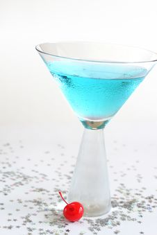 Free Sparkling Blue Drink With Cherry. Stock Image - 15298131