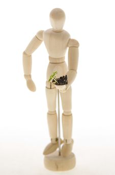 Mannequin Holding Plant Seedling Royalty Free Stock Photos