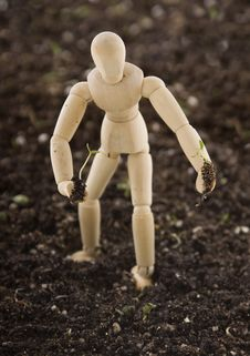 Free Mannequin Planting Seedling In Soil Royalty Free Stock Photo - 15298325