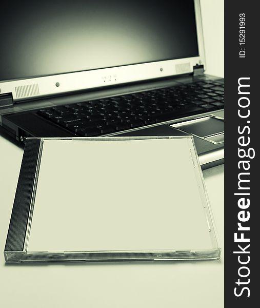 Cd case on laptop