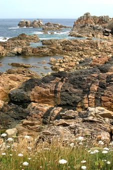 The Pink Granite Coast In Bretagne Stock Image