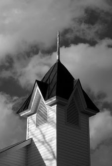 Free Church Steeple In Black & White Stock Image - 1530931