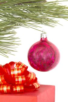 Gift Box And Christmas Ball Stock Photography
