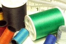 Spools Of Thread, Thimble, And Tape Measure Stock Photos