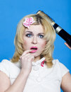Free Young Blond Woman With Broken Hairdryer Royalty Free Stock Photo - 15301905