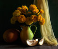 Free Still Life With Marigolds And Melon Royalty Free Stock Images - 15303009