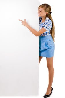 Business Women Pointing A White Board Stock Images