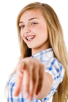 Women Smiling And Pointing At The Camera Royalty Free Stock Photos